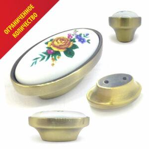 Ручка-кнопка мебельная с керамической вкладкой. РУЧКА 2110-D53 CERAMIC